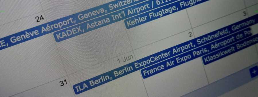 Calendários de Eventos e Airshows